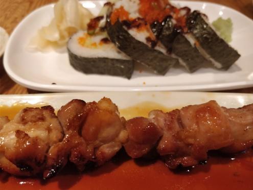 yakitori, and sushi roll